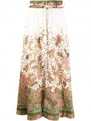 Юбка макси с цветочным принтом Zimmermann. Цвет: белый