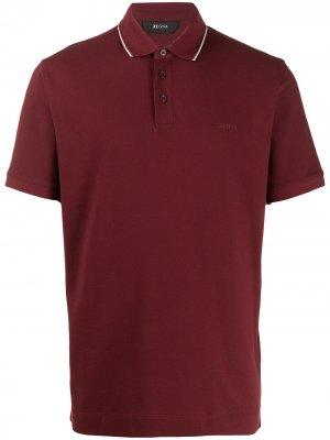 Рубашка-поло с контрастной отделкой Z Zegna. Цвет: красный