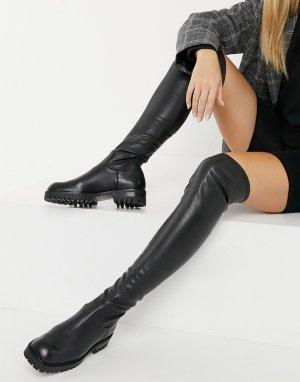 Черные кожаные ботфорты E8 от Miista Oliana-Черный By