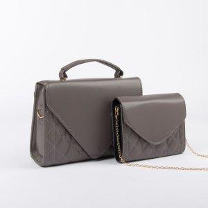 Набор сумок, отдел на клапане, длинный ремень, цепочка, цвет тёмно-серый TEXTURA