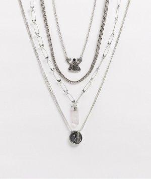 Набор коротких серебристых цепочек с подвесками -Серебряный ASOS DESIGN