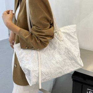 Минималистичная большая сумка-тоут SHEIN. Цвет: белый