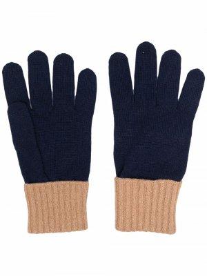 Кашемировые перчатки в двух тонах Eleventy. Цвет: синий
