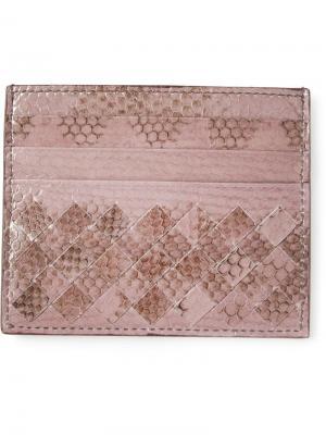 Плетёная визитница Bottega Veneta. Цвет: розовый и фиолетовый