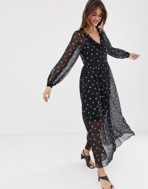 Платье миди с цветочным принтом 2NDDAY Petra Anemone-Темно-синий 2nd Day