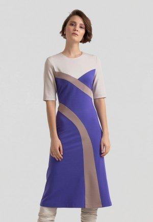 Платье Lova Комбинированное трикотажное с коротким рукавом. Цвет: фиолетовый