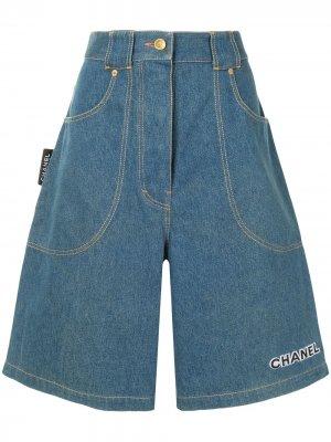 Джинсовые шорты широкого кроя Chanel Pre-Owned. Цвет: синий