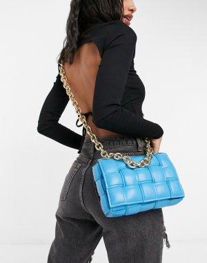 Синяя стеганая сумка через плечо с ремешком-цепочкой Ego x Molly Mae-Голубой