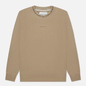 Мужская толстовка Logo Jacquard Crew Neck Calvin Klein Jeans. Цвет: бежевый