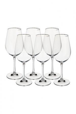 Бокал для вина 6 шт BOHEMIA CRYSTAL. Цвет: белый