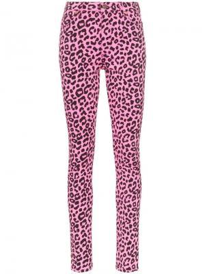 Леопардовые джинсы скинни с завышенной талией Gucci. Цвет: розовый