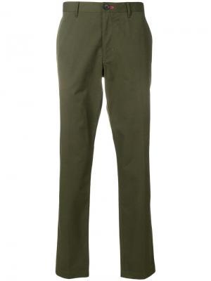 Классические эластичные брюки-чинос PS Paul Smith. Цвет: зеленый