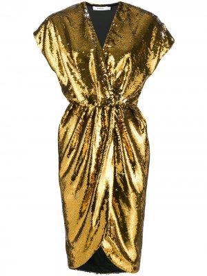 Коктейльное платье с пайетками Amen. Цвет: золотистый