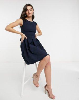 Темно-синее расклешенное платье мини с карманами -Темно-синий Closet London