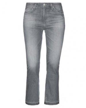 Джинсовые брюки-капри AG JEANS. Цвет: серый