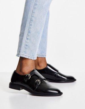 Черные кожаные монки на плоской подошве Milestone-Черный цвет ASOS DESIGN