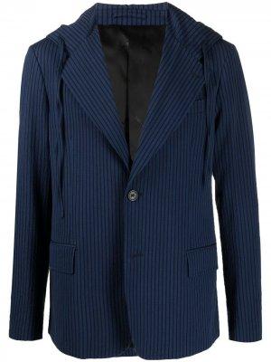 Пиджак в полоску с капюшоном LANVIN. Цвет: синий