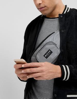 Сумка-кошелек на пояс со светоотражающей отделкой Nicce London. Цвет: серый