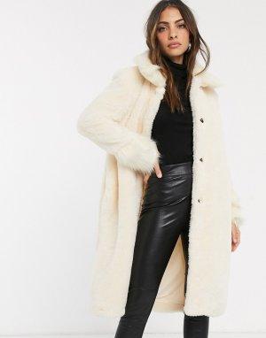 Кремовое длинное пальто из искусственного меха -Белый River Island