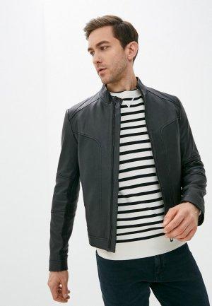 Куртка кожаная Hugo Lonos. Цвет: черный