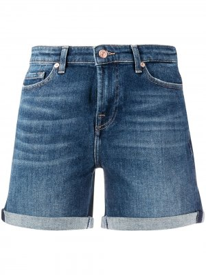 Джинсовые шорты с подворотами 7 For All Mankind. Цвет: синий