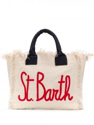 Пляжная сумка с логотипом и бахромой Mc2 Saint Barth. Цвет: нейтральные цвета