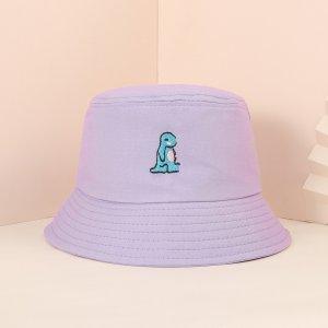 Мужской Панама вышивкой SHEIN. Цвет: пурпурный