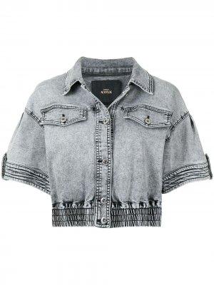 Джинсовая куртка с короткими рукавами TWINSET. Цвет: серый