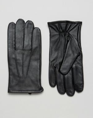 Черные кожаные перчатки для сенсорных гаджетов ASOS DESIGN. Цвет: черный