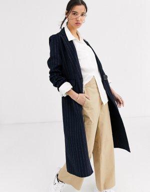 Длинное однобортное пальто -Темно-синий Selected