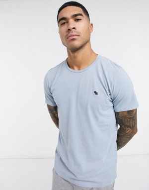 Голубая футболка с логотипом -Синий Abercrombie & Fitch
