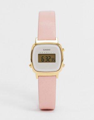 Часы с кожаным ремешком LA670WEFL-4A2EF-Розовый Casio