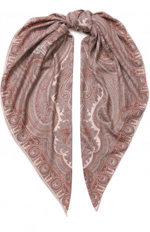 Платок из смеси кашемира и шелка с принтом Michele Binda. Цвет: коралловый