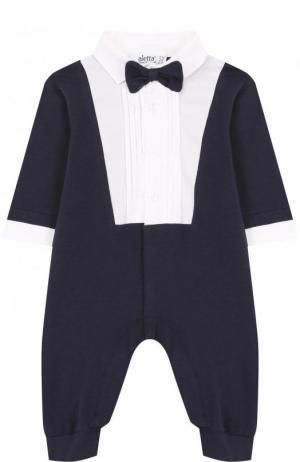 Хлопковый комбинезон с декоративным галстуком-бабочкой Aletta. Цвет: синий