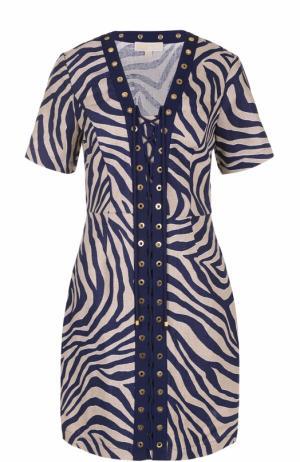 Льняное платье с принтом и шнуровкой MICHAEL Kors. Цвет: разноцветный