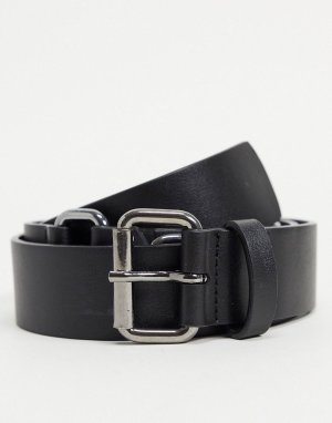 Черный узкий ремень из искусственной кожи с D-образной пряжкой стального оттенка -Черный цвет ASOS DESIGN