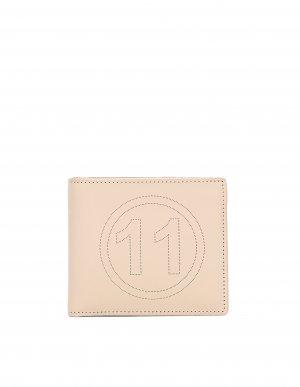 Бежевый кожаный кошелек с перфорацией Maison Margiela