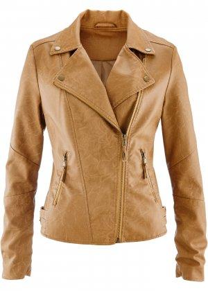 Куртка-косуха из искусственной кожи bonprix. Цвет: корич-невый