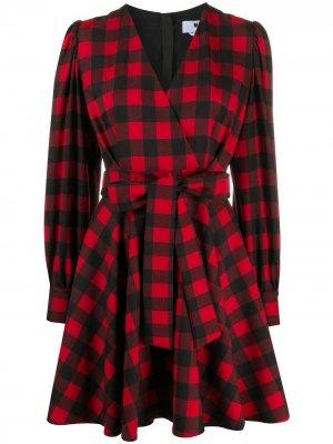 Клетчатое платье с запахом MSGM. Цвет: красный