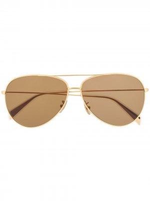 Солнцезащитные очки-авиаторы с затемненными линзами Celine Eyewear. Цвет: золотистый