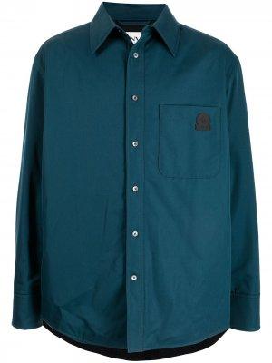 Куртка-рубашка с нашивкой-логотипом LANVIN. Цвет: синий