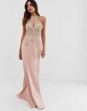 Платье макси с халтером и отделкой -Розовый Jovani