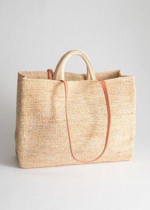 Большая плетеная сумка-тоут из соломы &Other Stories. Цвет: бежевый