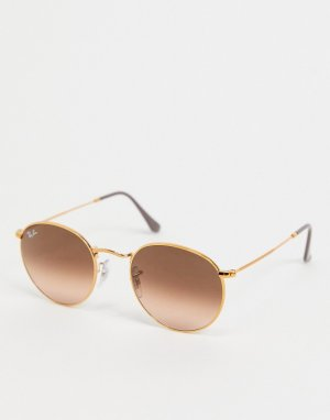 Солнцезащитные очки в золотистой круглой оправе стиле унисекс с красными стеклами -Золотистый Ray-Ban