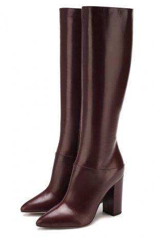 Кожаные сапоги Garavani Ringstud Valentino. Цвет: бордовый