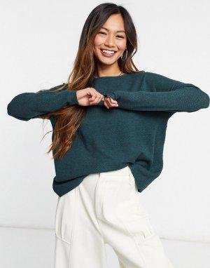 Зеленый меланжевый джемпер-пуловер с длинными рукавами -Зеленый цвет Only