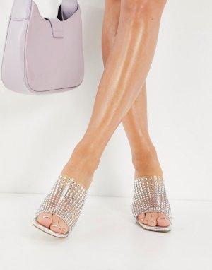 Прозрачные босоножки на каблуке со стразами Derella-Прозрачный Jeffrey Campbell
