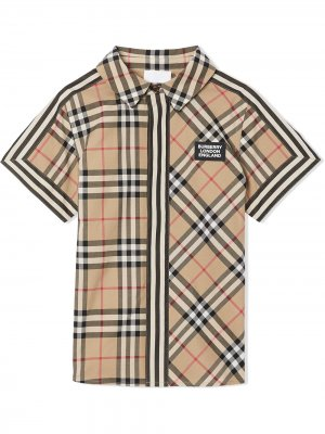 Рубашка с короткими рукавами в клетку Vintage Check Burberry Kids. Цвет: коричневый