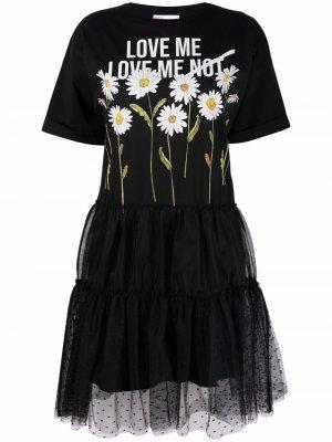 Платье с короткими рукавами и графичным принтом RED Valentino. Цвет: черный