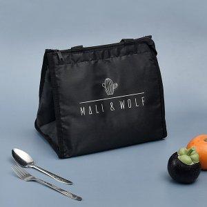 Изоляционная сумка для хранения ланч-бокса с принтом кактуса SHEIN. Цвет: чёрный